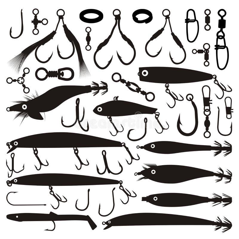 Pesca de siluetas del señuelo ilustración del vector
