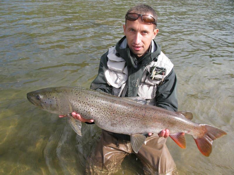 Pesca de Taimen imagen de archivo