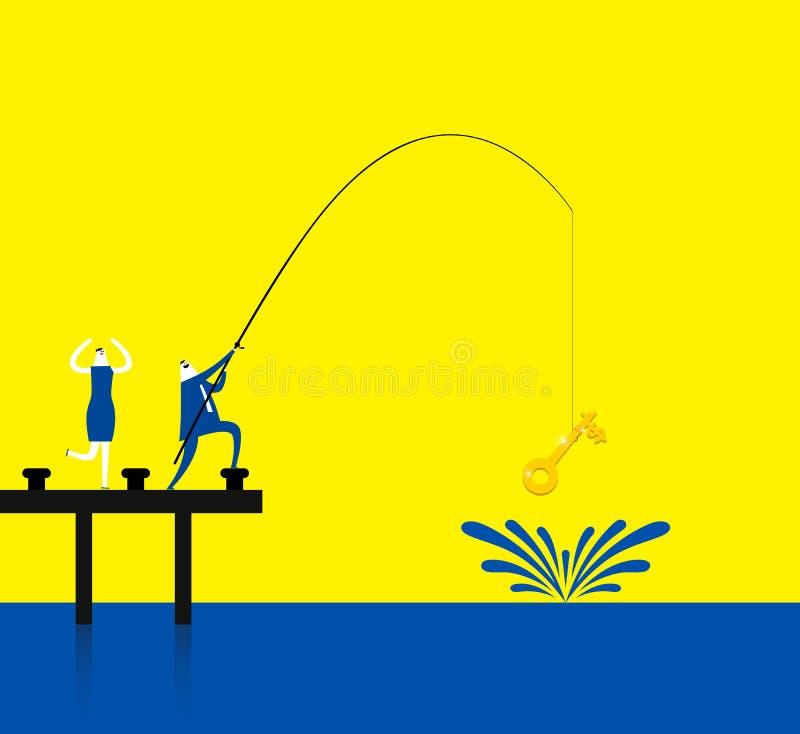 Pesca de una llave del oro libre illustration