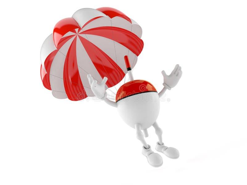 Pesca del carácter del flotador con el paracaídas stock de ilustración