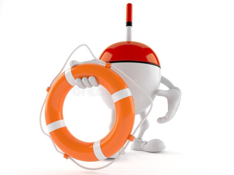 Pesca del carácter del flotador que sostiene la boya de vida stock de ilustración
