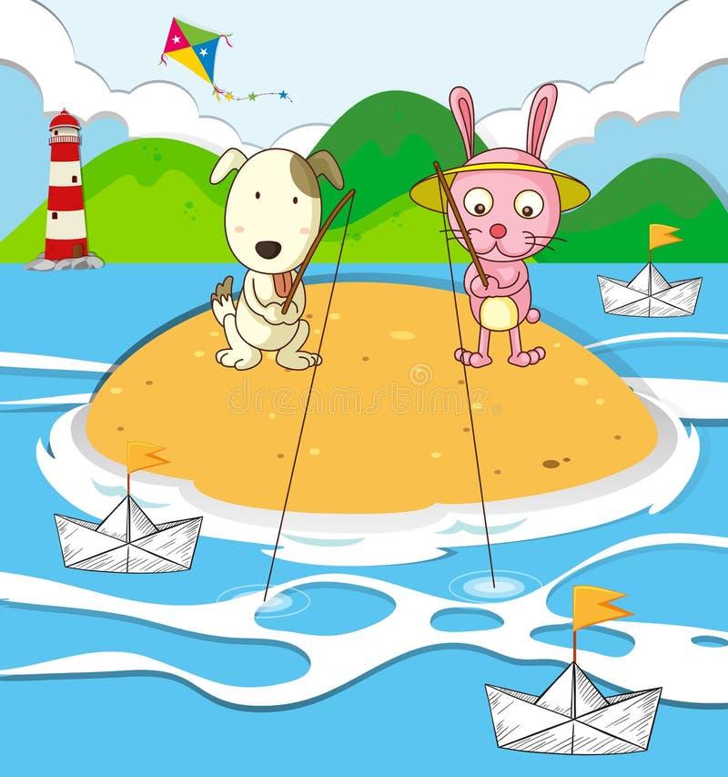 Pesca del coniglio e del cane sull'isola royalty illustrazione gratis