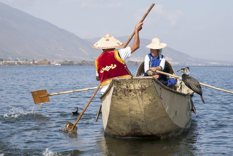 Pesca del Cormorant in Cina immagini stock libere da diritti