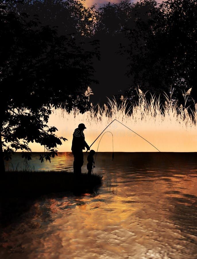 Pesca del figlio e del padre sul concetto del lago fotografie stock libere da diritti
