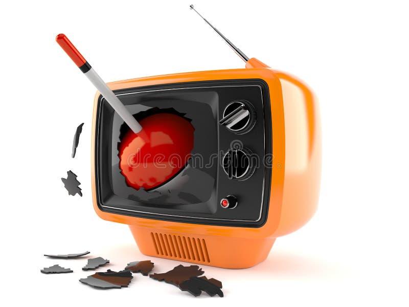 Pesca del flotador dentro del aparato de TV stock de ilustración