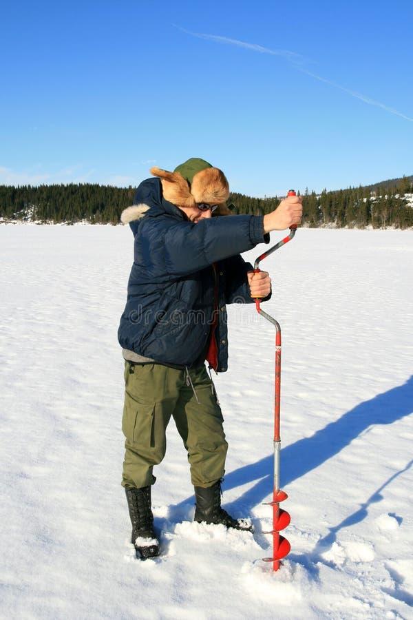 Pesca del ghiaccio immagine stock libera da diritti