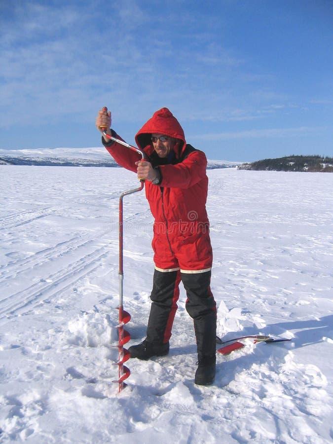 Pesca del ghiaccio fotografie stock libere da diritti