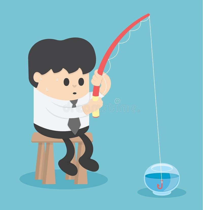 Pesca del hombre de negocios en el acuario vacío libre illustration