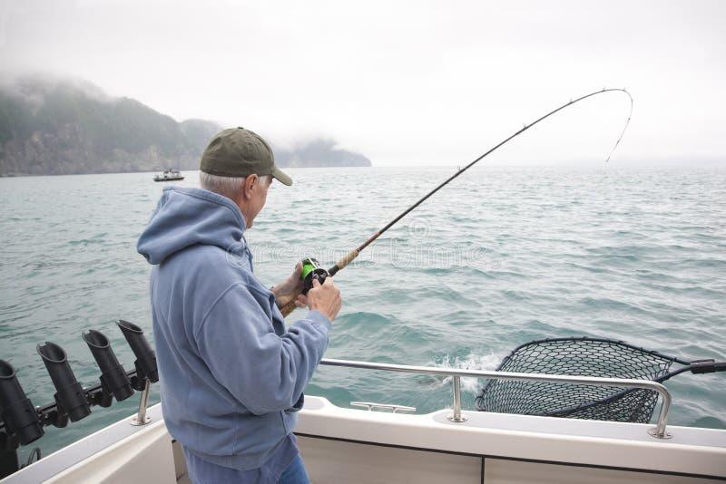 Pesca del hombre mayor para los salmones en Alaska fotografía de archivo