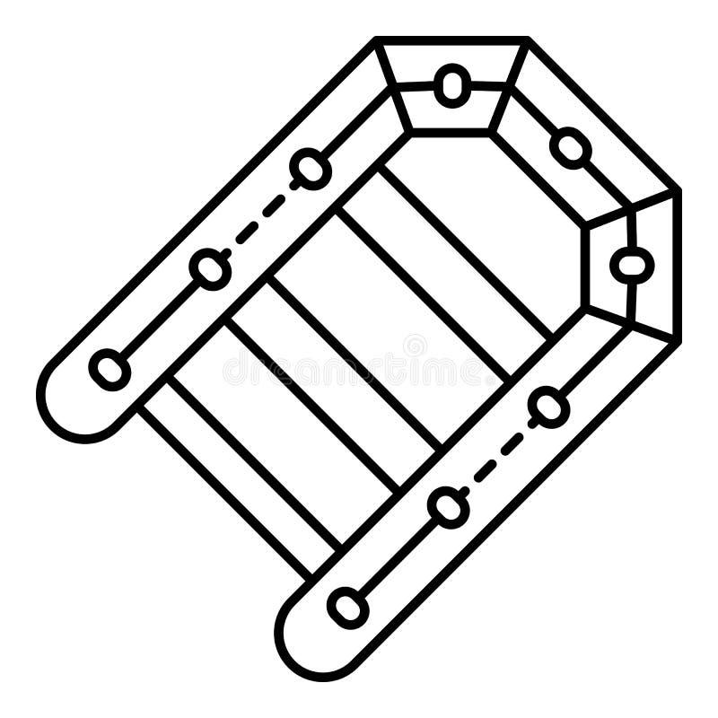 Pesca del icono inflable del barco, estilo del esquema stock de ilustración