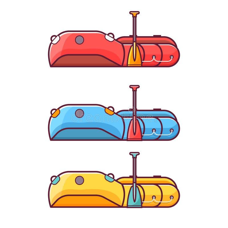 Pesca del icono inflable del barco que transporta en balsa libre illustration
