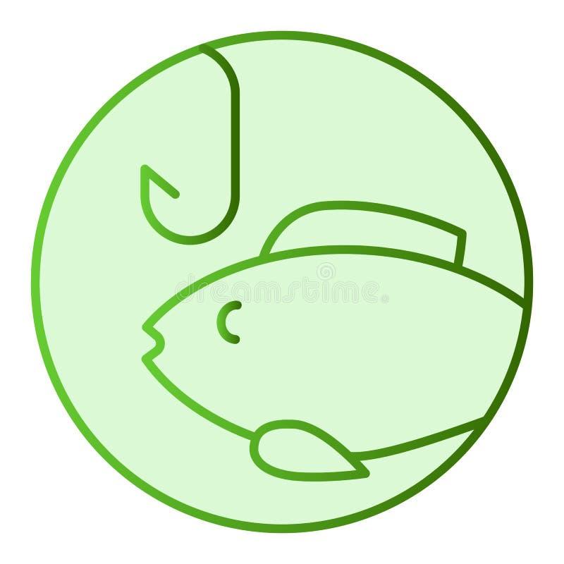 Pesca del icono plano Cebo con los iconos verdes de los pescados en estilo plano de moda Diseño del estilo de la pendiente de los ilustración del vector