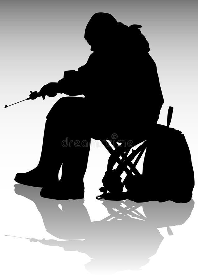 Pesca del invierno stock de ilustración