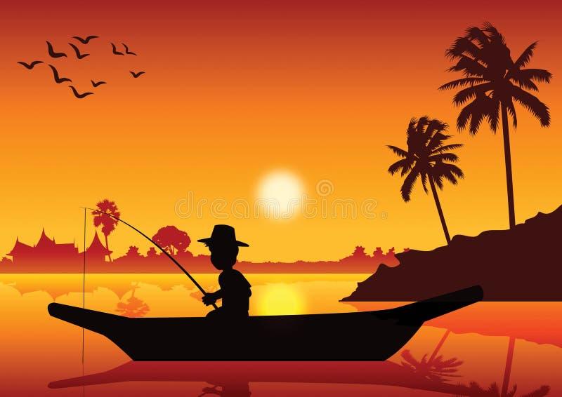 Pesca del muchacho en el barco en la charca del río para coger pescados, alrededor con natu ilustración del vector
