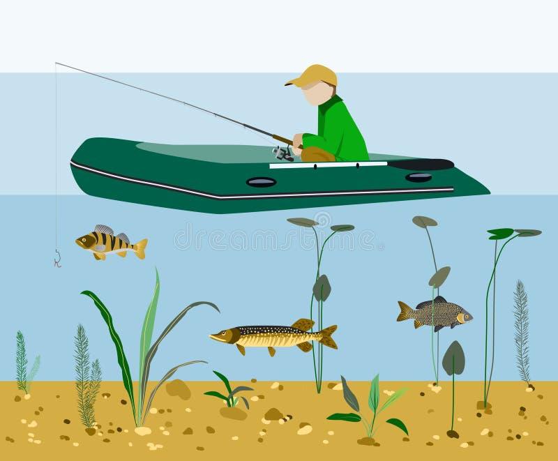 Pesca del pescador en un concepto plano del vector del barco ilustración del vector