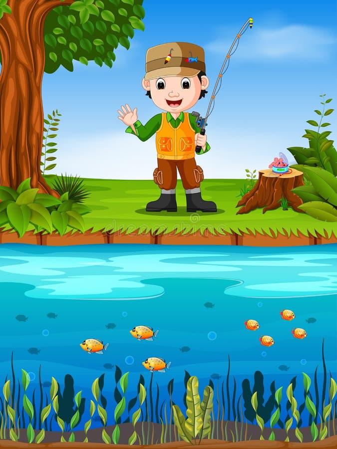 Pesca del pescador en un río stock de ilustración