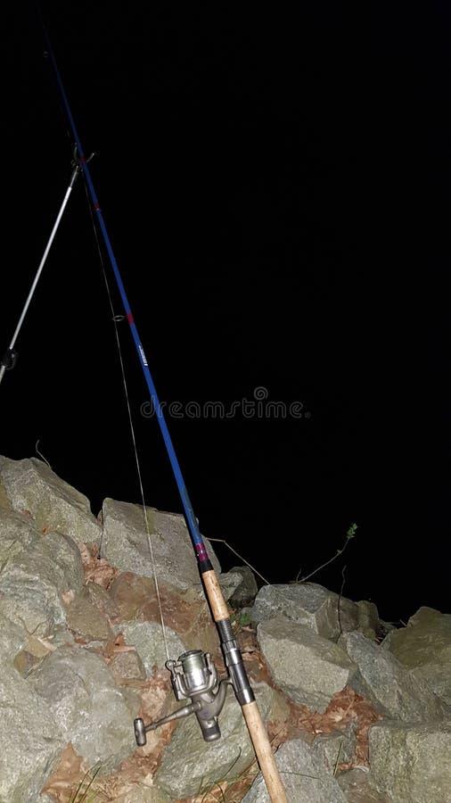 Pesca del pesce scuro della Germania di notte immagini stock libere da diritti