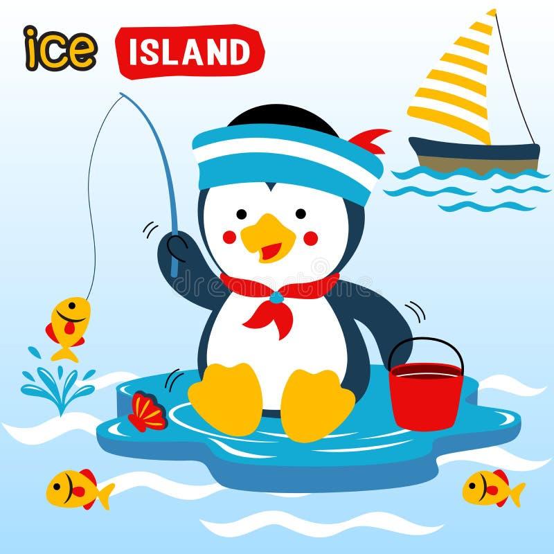 Pesca del pinguino con la barca a vela, illustrazione del fumetto di vettore illustrazione di stock
