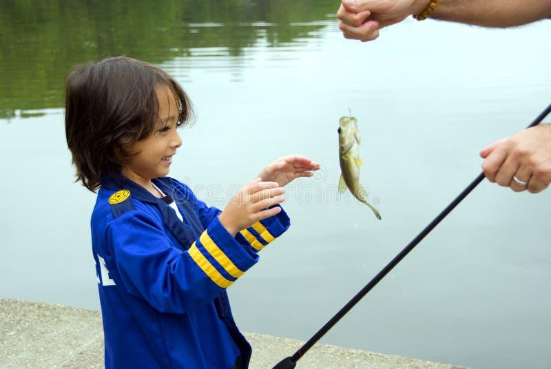 Pesca del ragazzo fotografia stock