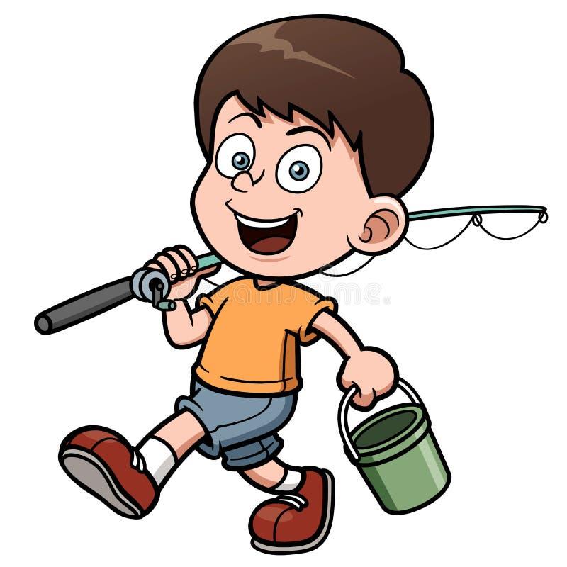 Pesca del ragazzo illustrazione di stock
