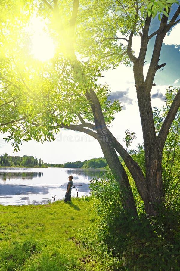 Pesca del ragazzo sul lago fotografie stock