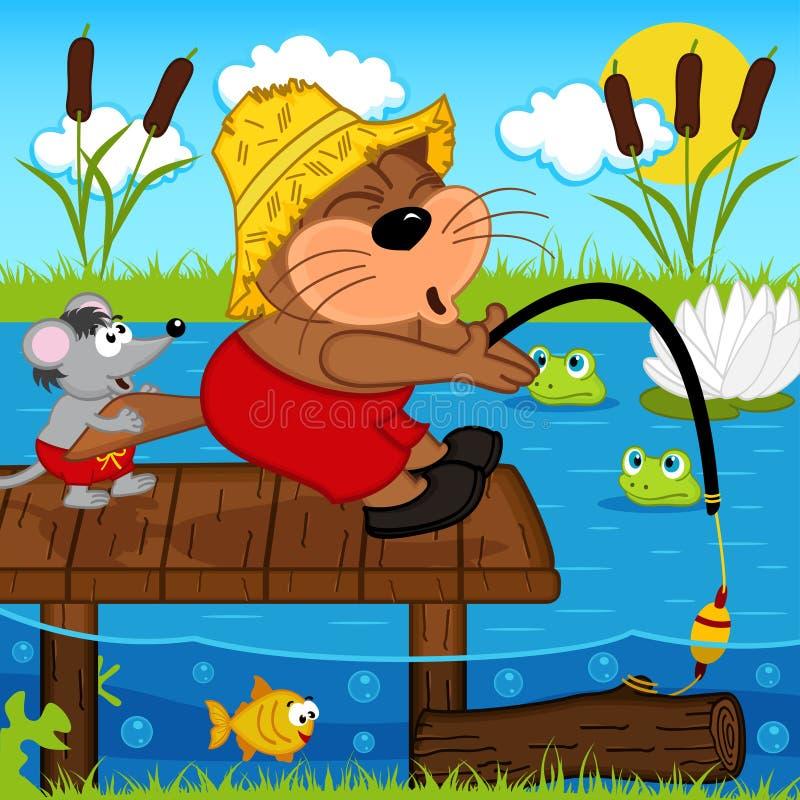 Pesca del ratón del gato libre illustration