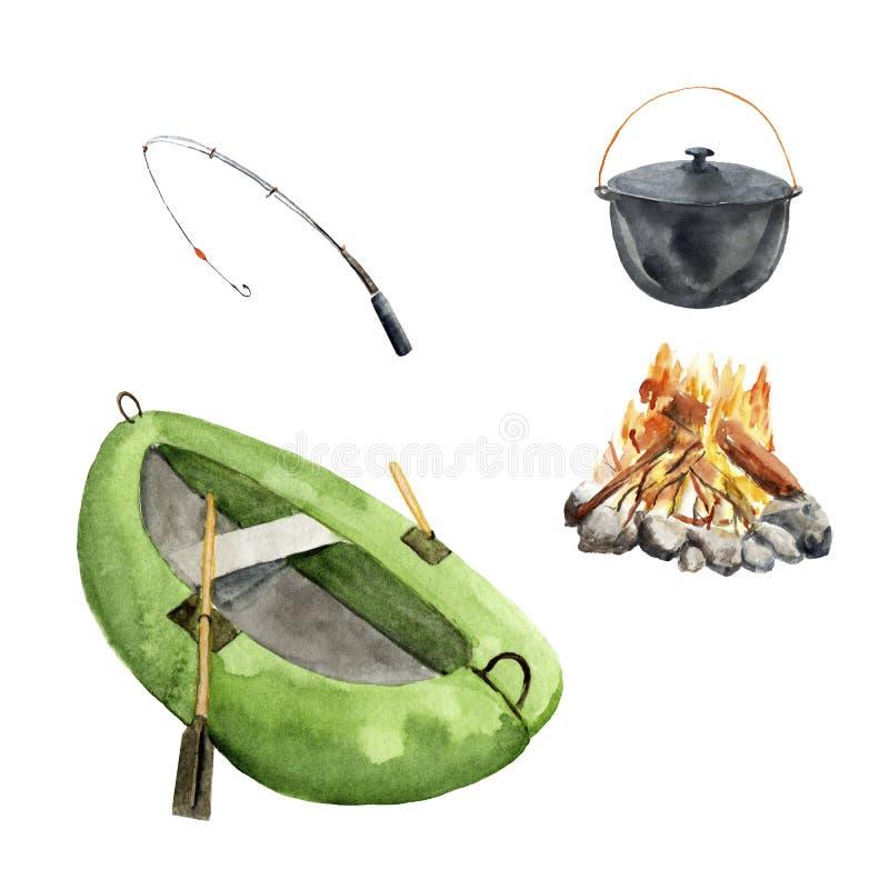 Pesca del sistema de la acuarela, acampando - barco, caña de pescar, hoguera, caldera stock de ilustración