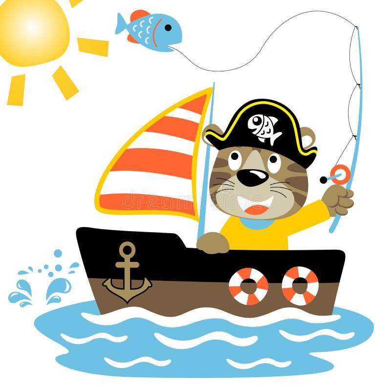 Pesca del tempo con il fumetto divertente del pirata illustrazione vettoriale