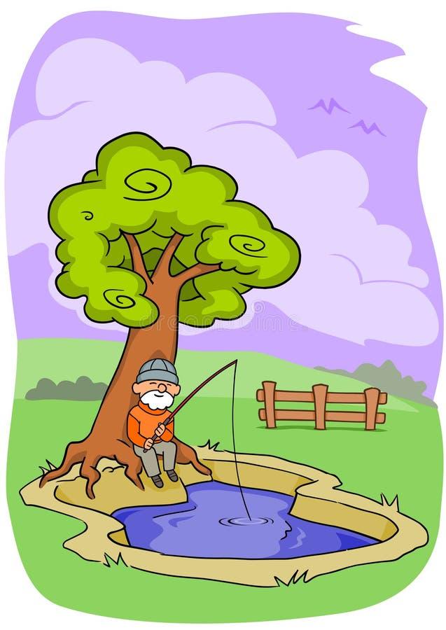 Pesca del viejo hombre ilustración del vector