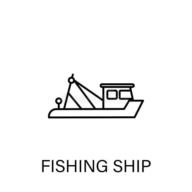 Pesca dell'icona del profilo della nave I segni ed i simboli possono essere usati per il web, logo, app mobile, UI, UX royalty illustrazione gratis