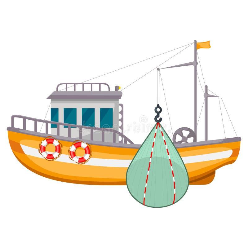 Pesca dell'icona della nave, attrezzatura dell'industria della pesca del porto del mare royalty illustrazione gratis