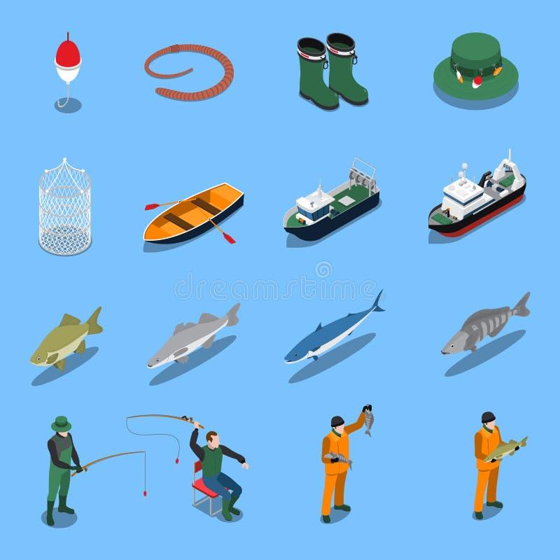 Pesca dell'insieme isometrico delle icone royalty illustrazione gratis