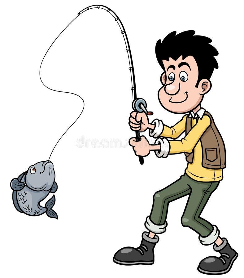 Pesca dell'uomo del fumetto illustrazione di stock