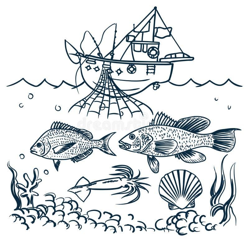 Pesca della barca illustrazione vettoriale