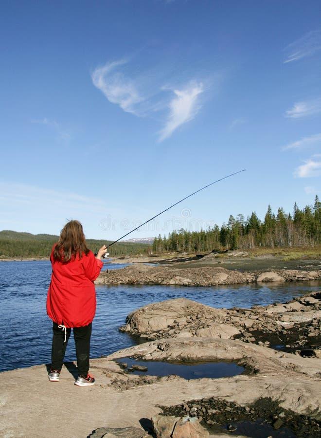 Pesca della donna fotografia stock
