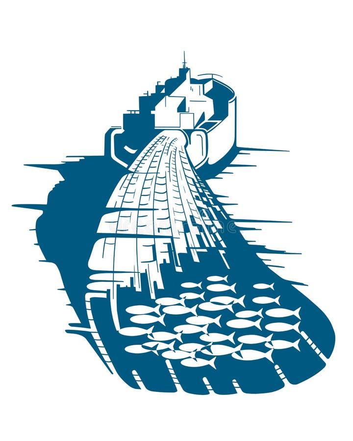 Pesca della nave illustrazione vettoriale