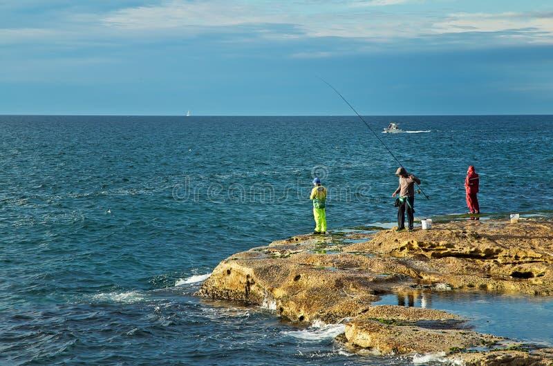 Pesca della roccia a Sydney immagini stock libere da diritti