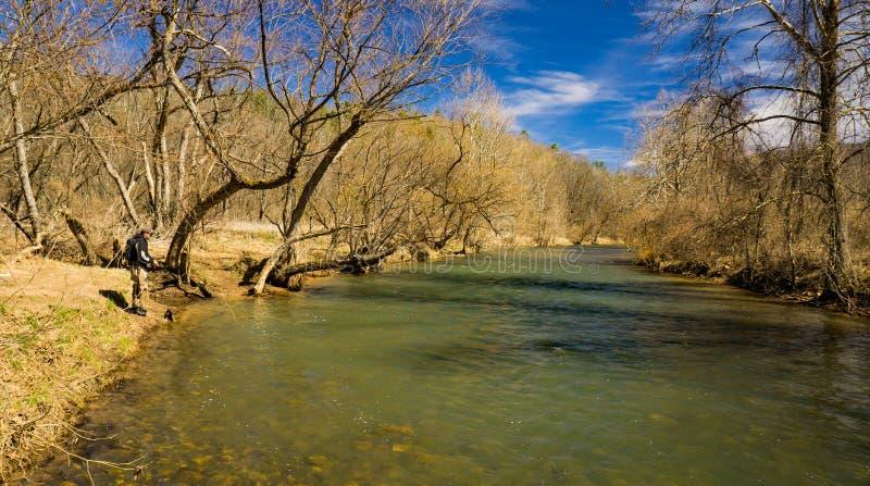 Pesca della trota su Jackson River fotografia stock