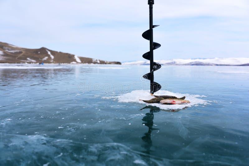 Pesca di inverno in mezzo al ghiaccio congelato del lago fotografia stock libera da diritti