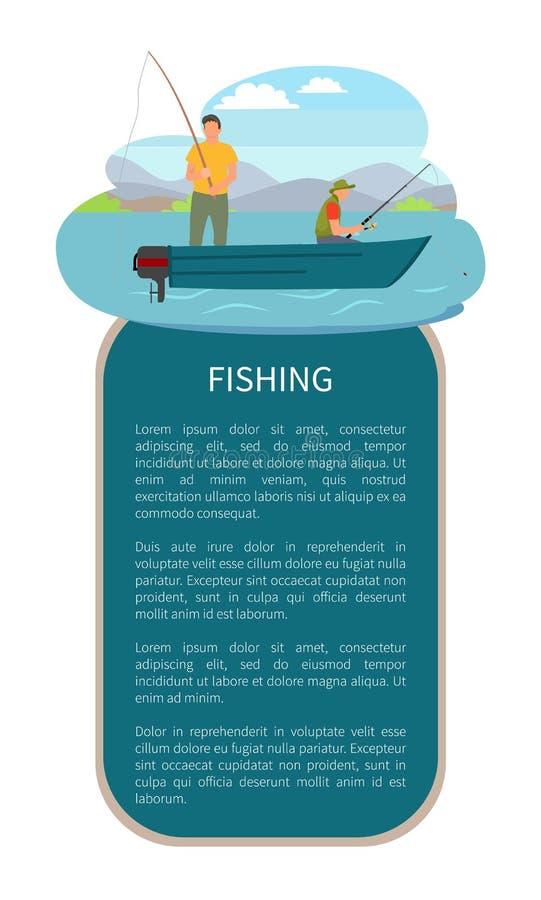 Pesca di lago o del fiume sul manifesto di vettore dell'imbarcazione a motore royalty illustrazione gratis