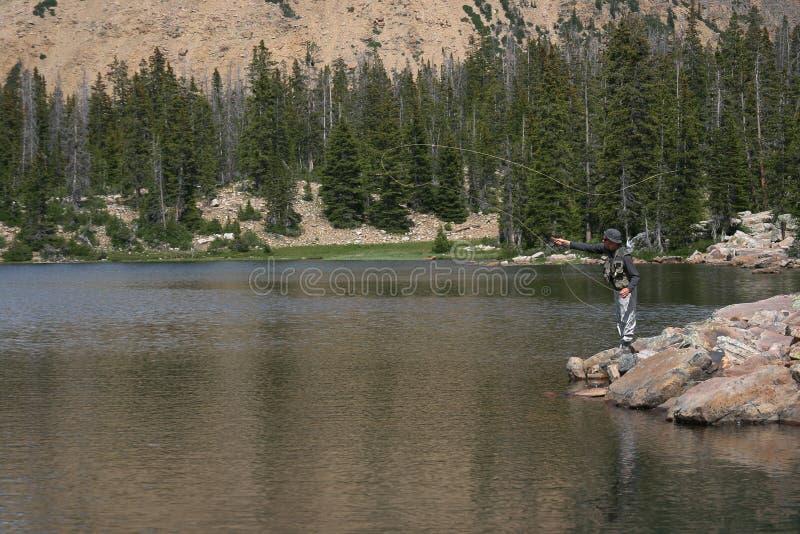 pesca di mosca/pezzo fuso/lago fotografia stock