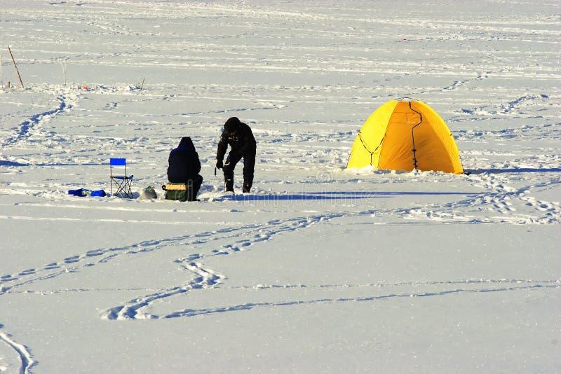 Pesca do inverno. foto de stock