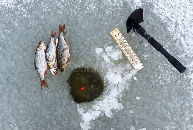 Pesca do inverno em congelar o conceito do tempo frio imagens de stock royalty free