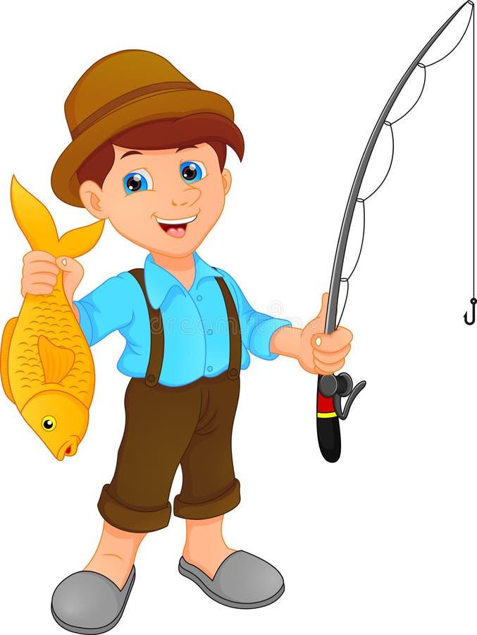 Pesca do menino que guarda desenhos animados dos peixes ilustração stock