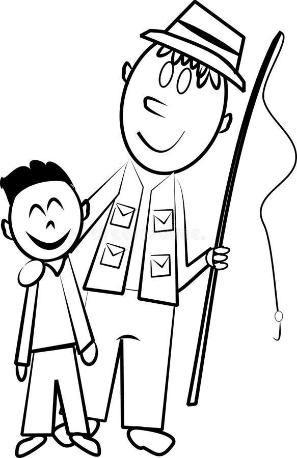 Pesca do pai e do filho ilustração do vetor