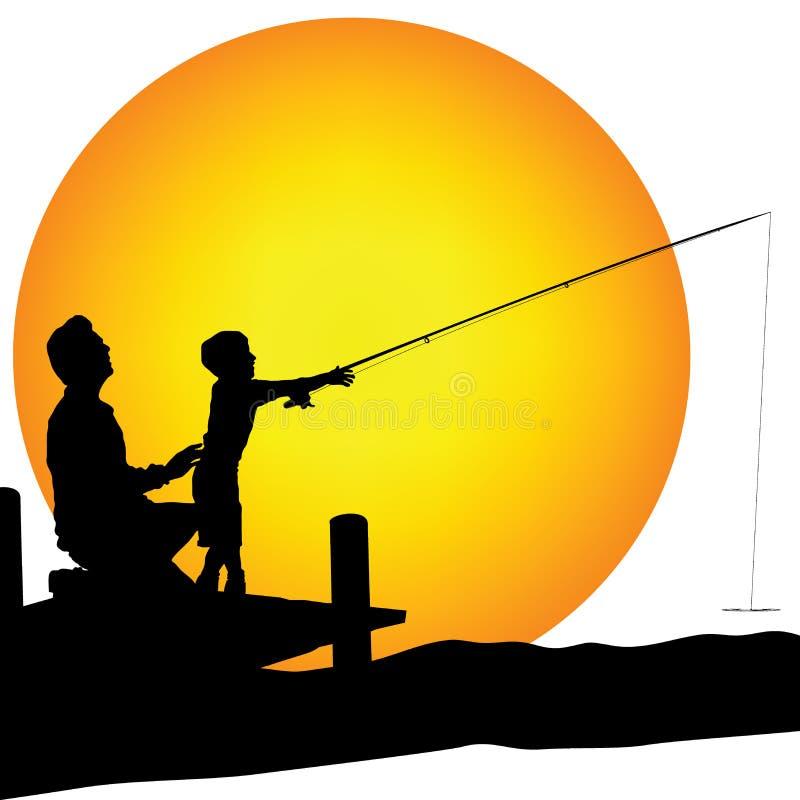Pesca do shilouette do homem e da criança ilustração stock