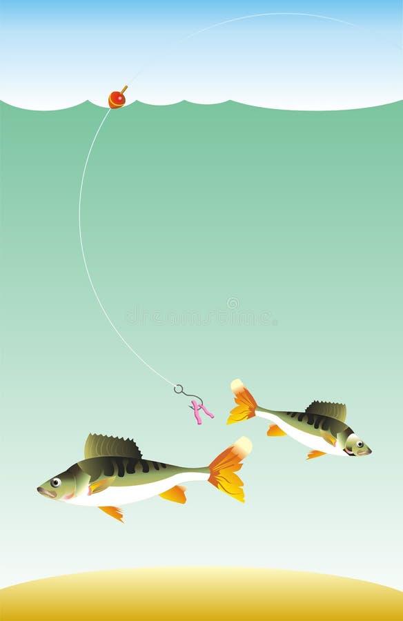 Pesca dos peixes na haste de pesca ilustração stock