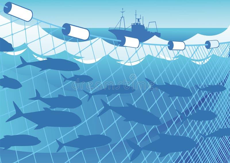 Pesca en el mar ilustración del vector
