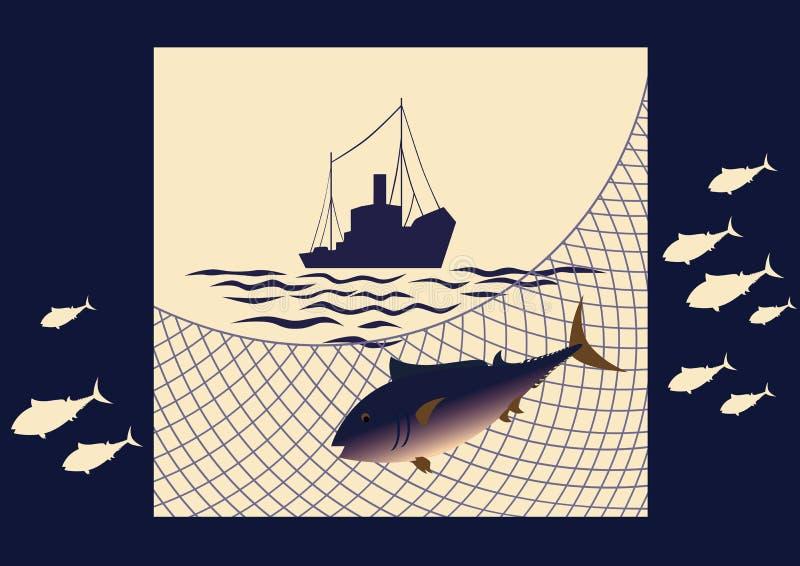 Pesca en el mar stock de ilustración