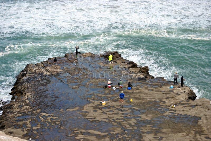Pesca en el muriwai fotografía de archivo libre de regalías